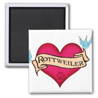 Corazón del tatuaje de Rottweiler Iman De Nevera