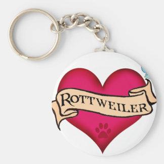 Corazón del tatuaje de Rottweiler Llaveros Personalizados