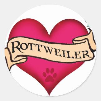 Corazón del tatuaje de Rottweiler Pegatina Redonda