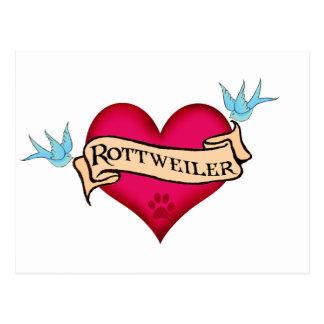 Corazón del tatuaje de Rottweiler Postal