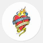 Corazón del tatuaje de Síndrome de Down Etiquetas Redondas