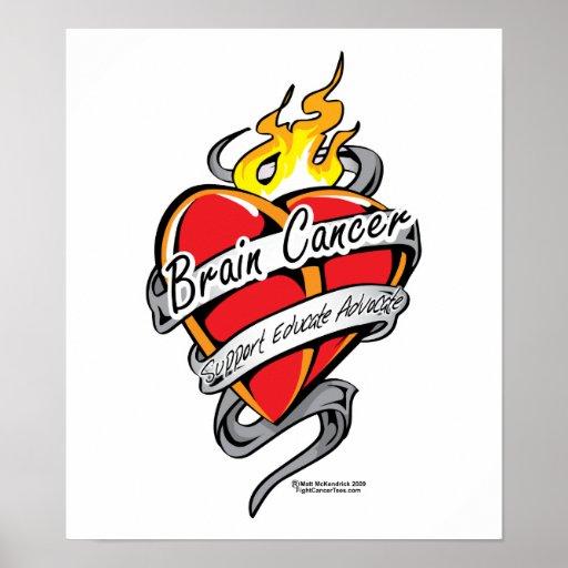 Corazón del tatuaje del cáncer de cerebro posters