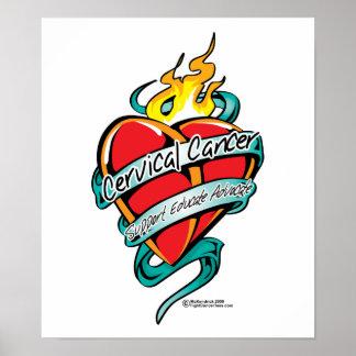 Corazón del tatuaje del cáncer de cuello del útero impresiones