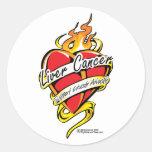 Corazón del tatuaje del cáncer de hígado pegatina redonda