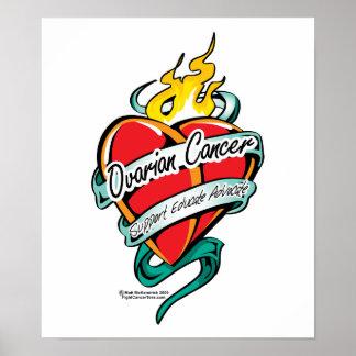 Corazón del tatuaje del cáncer ovárico póster