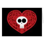 Corazón del tatuaje del cráneo tarjetas