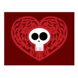 Corazón del tatuaje del cráneo tarjetas postales