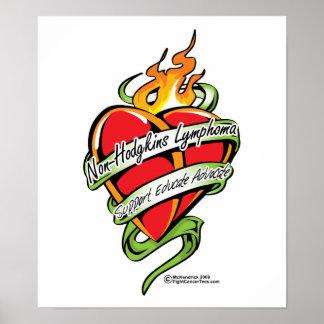 Corazón del tatuaje del linfoma de Non-Hodgkins Póster