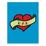 Corazón del tatuaje del papá tarjetas postales