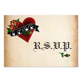 """Corazón del tatuaje y tarjetas color de rosa de invitación 3.5"""" x 5"""""""