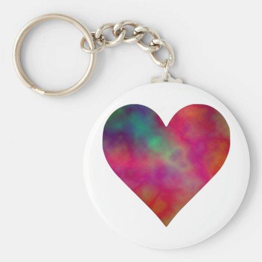 Corazón del teñido anudado llaveros personalizados