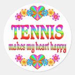 Corazón del tenis feliz etiqueta redonda