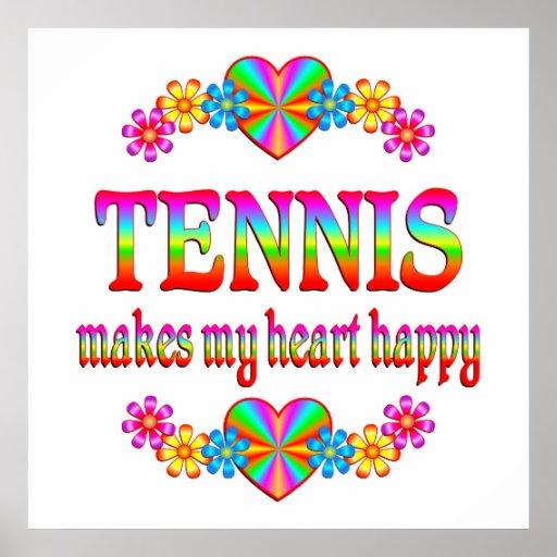 Corazón del tenis feliz póster