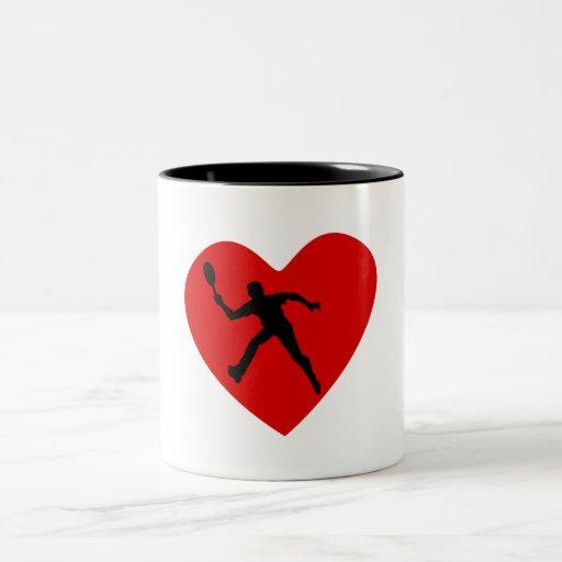 Corazón del tenis tazas de café