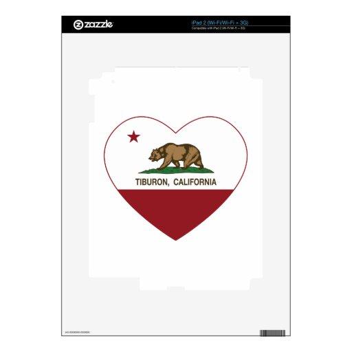 corazón del tiburon de la bandera de California iPad 2 Skins