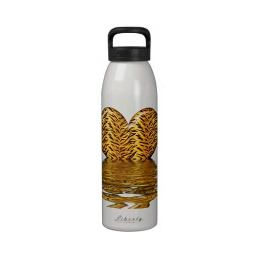 Corazón del tigre botellas de agua reutilizables