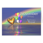 Corazón del Topaz del cumpleaños de noviembre Tarjeta De Felicitación