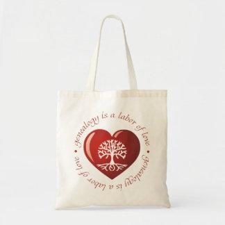 Corazón del trabajo de amor bolsa tela barata