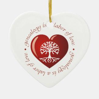Corazón del trabajo de amor adorno de cerámica en forma de corazón