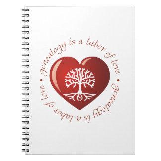 Corazón del trabajo de amor libreta espiral