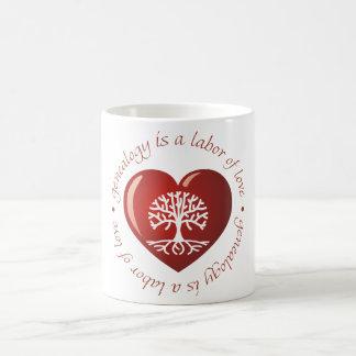 Corazón del trabajo de amor taza de café