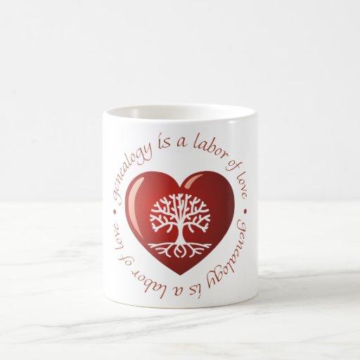Corazón del trabajo de amor tazas de café