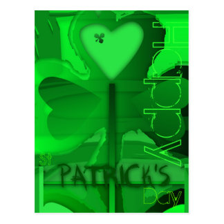 Corazón del trébol del día de St Patrick feliz - Postal