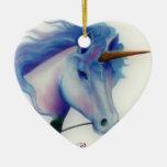 Corazón del unicornio adorno de cerámica en forma de corazón
