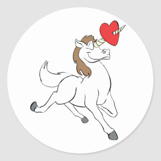 Corazón del unicornio pegatina redonda