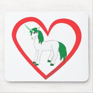 Corazón del unicornio mouse pad