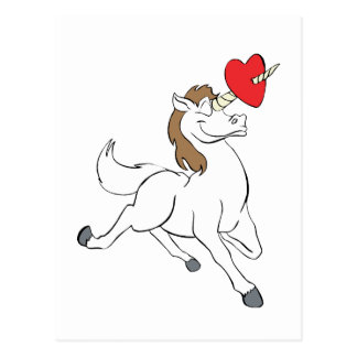 Corazón del unicornio tarjeta postal