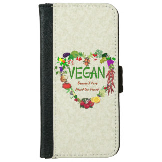 Corazón del vegano funda cartera para iPhone 6