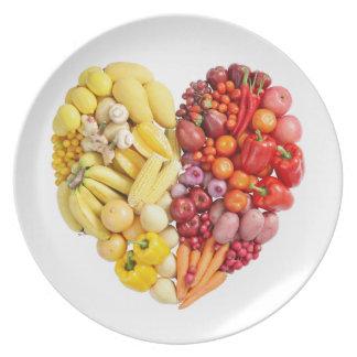Corazón del Veggie Plato De Comida