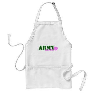 Corazón del verde de la sobrina del ejército delantal