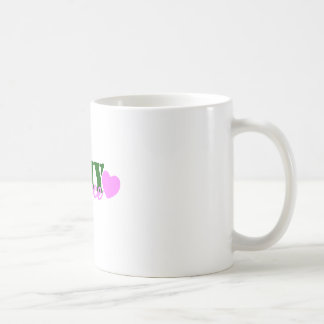 Corazón del verde de la sobrina del ejército tazas de café