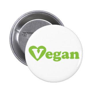 Corazón del verde del texto del vegano pin redondo de 2 pulgadas