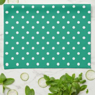 Corazón del verde esmeralda con nombre toalla de cocina