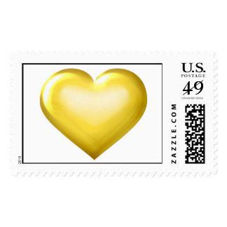 Corazón del vidrio del oro sello
