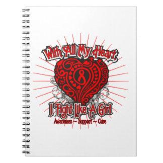 Corazón del VIH del SIDA que lucho como un chica Libretas