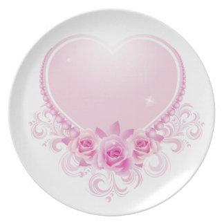 Corazón del vintage y rosa de rosas platos para fiestas