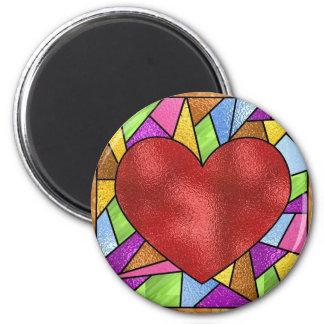 Corazón del vitral imán de nevera