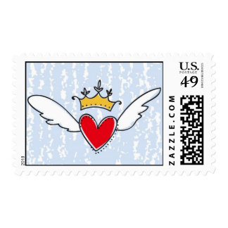 Corazón del vuelo con la corona sellos