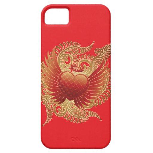 Corazón del vuelo en rojo iPhone 5 Case-Mate protectores