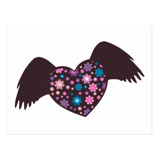 Corazón del vuelo - violeta tarjetas postales
