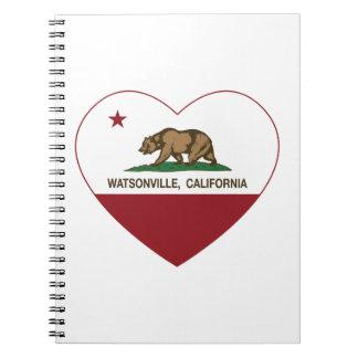 corazón del watsonville de la bandera de Californi Libros De Apuntes Con Espiral