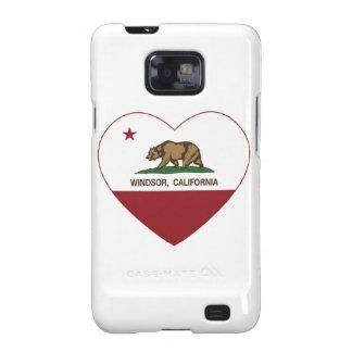 corazón del windsor de la bandera de California Samsung Galaxy S2 Carcasa
