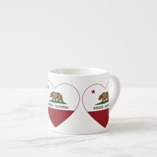 corazón del windsor de la bandera de California Taza Espresso