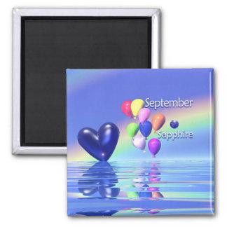 Corazón del zafiro del cumpleaños de septiembre imán de frigorifico