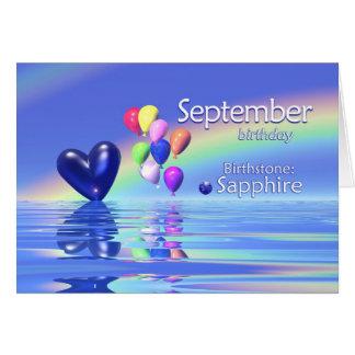 Corazón del zafiro del cumpleaños de septiembre tarjeton