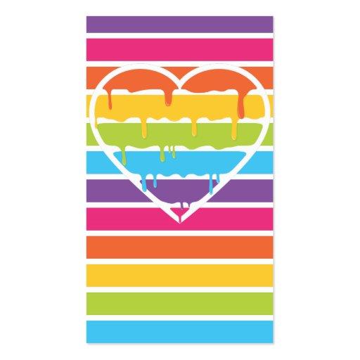 Corazón delicioso del arco iris con las rayas tarjetas de visita